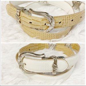 Brighton reversible white tan snakeskin belt L/34